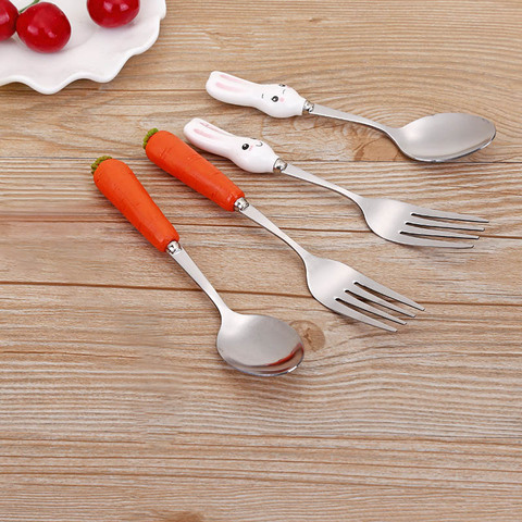 Fork Ceramic Handle Cute Kitchen Gadgets Stainless Steel  Baby Kid Tableware Carrot Spoon Dining Appliance 1PC Multan