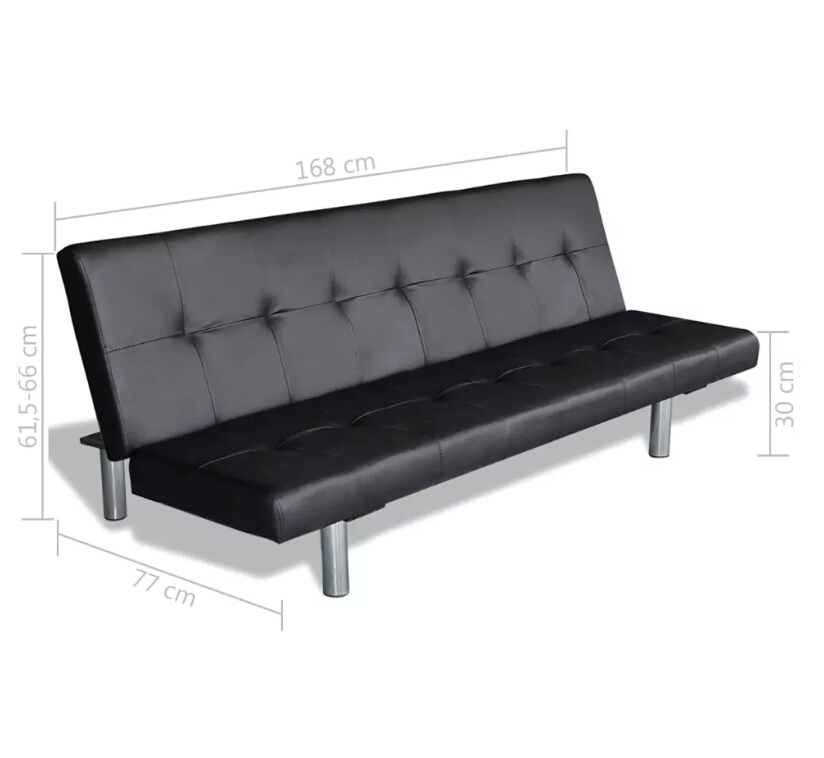 VidaXL Adjustable Sofa Bed With Two Pillows Black Synthetic Leather And Wooden Frame Living Room Furniture Sofa L-Shaped