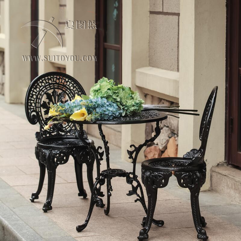 US $189.9 |CAST ALUMINIUM GARTEN MÖBEL SET ~~ TISCH UND 2 STÜHLE ~~  VIKTORIANISCHEN STIL-in Garten-Sets aus Möbel bei AliExpress