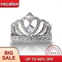 Vecalon корона ювелирные изделия 100% Soild кольцо из стерлингового серебра 925 Сона 5A Циркон Cz Обручение обручальное кольца для мужчин и женщин пода