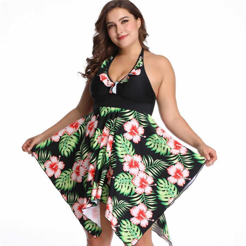 2XL-6XL размера плюс женский купальник из двух частей пуш-ап бикини 2019 женские купальники с высокой талией юбки цветочный принт пляжное платье для девочек