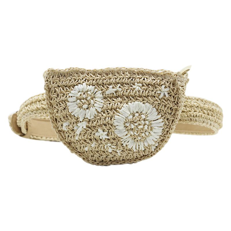 Flower Straw Waist Pack Men Women Can Be Fitted With Mobile Phone Keys Purse Women Bag(Beige)
