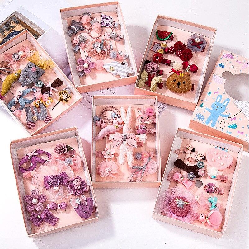 173021b5b 10 unids set sombrero conjunto de dibujos animados niños pelo accesorios  para bebé niñas encantador pelo Clips regalo de cumpleaños (con la Caja)