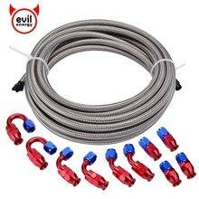 Evil energy AN4 нержавеющая сталь плетеный PTFE топливный шланг 5 м+ 4 AN 0/45/90/180 градусов PTFE многоразовый PTFE фитинг топливный шланг E85