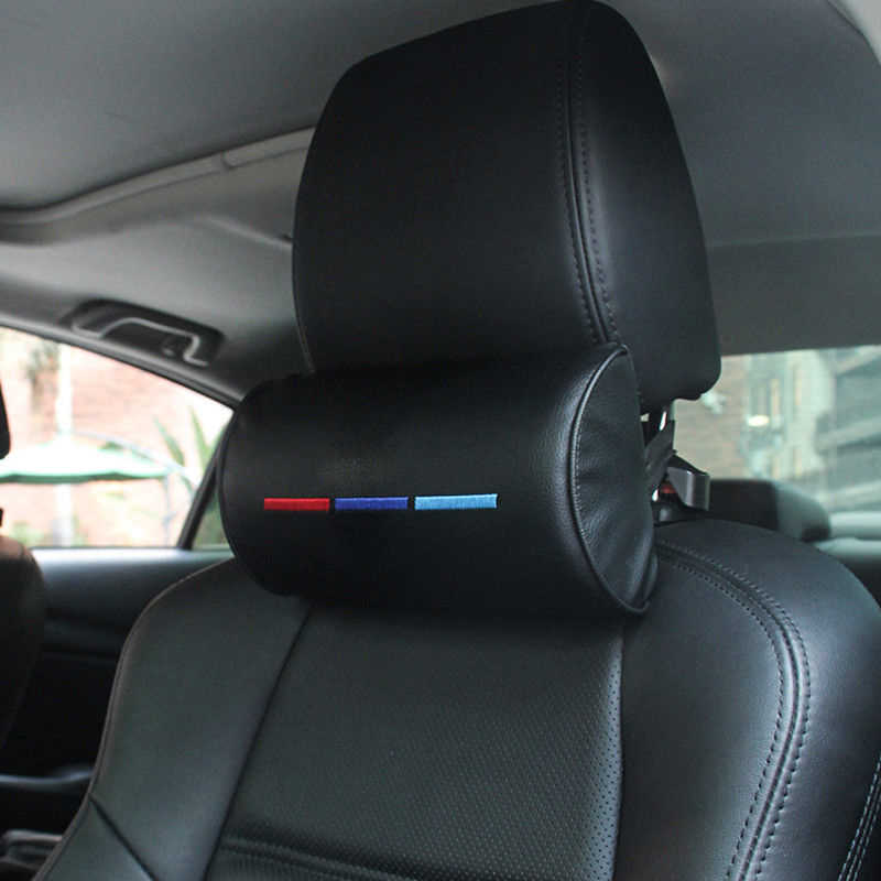 Cocok untuk BMW///M Kursi Mobil Kepala Leher Sisanya Bantal Busa Kulit Bantal Bantalan Hitam