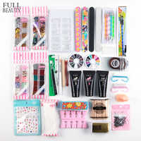 Nail Art Manicure Kit With Poly Gel Cuticle Pusher Glitter Powder Decoration Base Form of Beginner Nails Tool Brush Set CH766