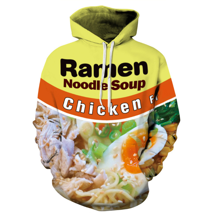 3D Sweatshirt Men Women Ramen Noodle Soup Print hoodies Funny Hip Hop Hooded sweatshirt