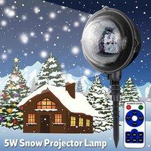 f658d68f836 Lámpara de proyector de nieve al aire libre copo de nieve LED luces de nieve  a prueba de agua Navidad vacaciones Color blanco il.