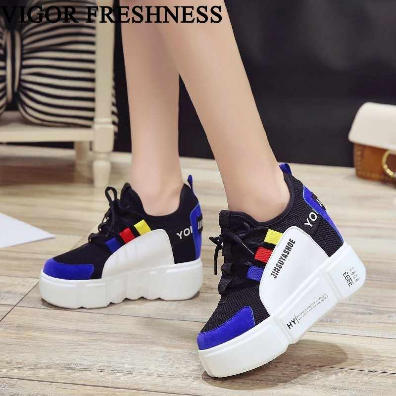 7e5e7f238 VIGOR FRESHNESS Pumps Women Platform Shoes Height Increasing Woman Shoes  Super High Heels Tennis Shoes White