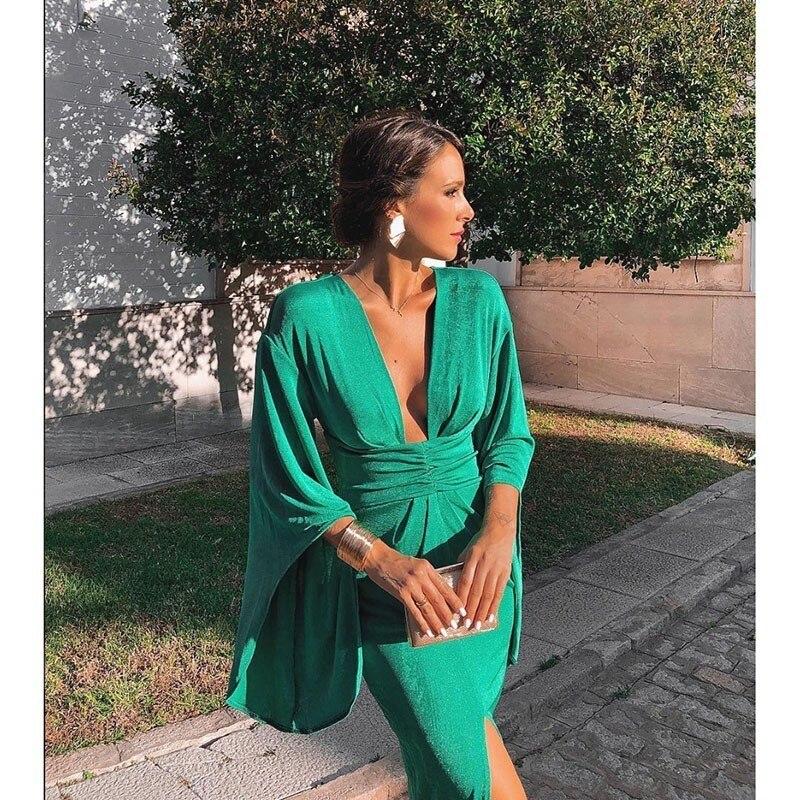 Green Elegant Sexy Dress Summer 2020 Women Deep V Neck Bodycon Party Dresses Ladies Flare Sleeve Split Tunic Midi Dress Women