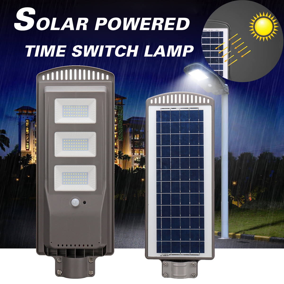 цена на New 60W Solar Powered Panel LED Solar Street Light All-in-1 Time Switch Waterproof IP67 Wall Lighting Lamp for Outdoor Garden