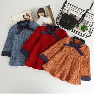 Image 1 - סתיו פעוט תינוקת שמלת נסיכת תחרה ארוך שרוול סתיו בית ספר חג ילדי שמלות ילדים קוריאני אופנה