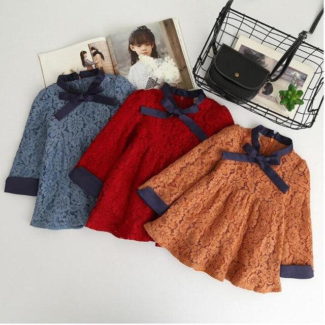 סתיו פעוט תינוקת שמלת נסיכת תחרה ארוך שרוול סתיו בית ספר חג ילדי שמלות ילדים קוריאני אופנה