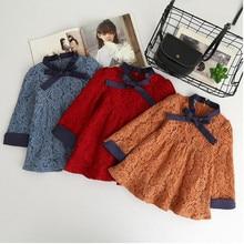 Sonbahar toddler bebek kız elbise prenses dantel uzun kollu sonbahar okul Tatil çocuklar elbiseler çocuk kore moda