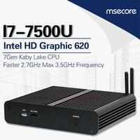 Mscore безвентиляторный Intel core i7 7500U игровой мини ПК i5 оконные рамы 10 Настольный компьютер linux неттоп Скелет аудиовидеоцентра HD620 4 к 300 м wi fi