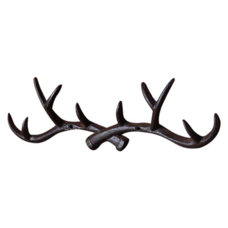 Cast Iron Antler Wall Hook Hanger Home Decoration Elk Coat Hat Scarf Rack