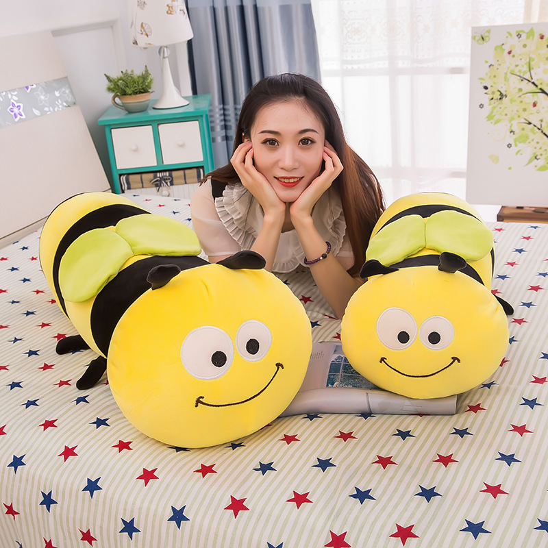 55cm Cartoon Kawaii Stuffed Plush Bee Toys Soft Cute Pillow Super Soft Stuffed Animal Honeybee Doll Birthday Gift for Kid Friend image