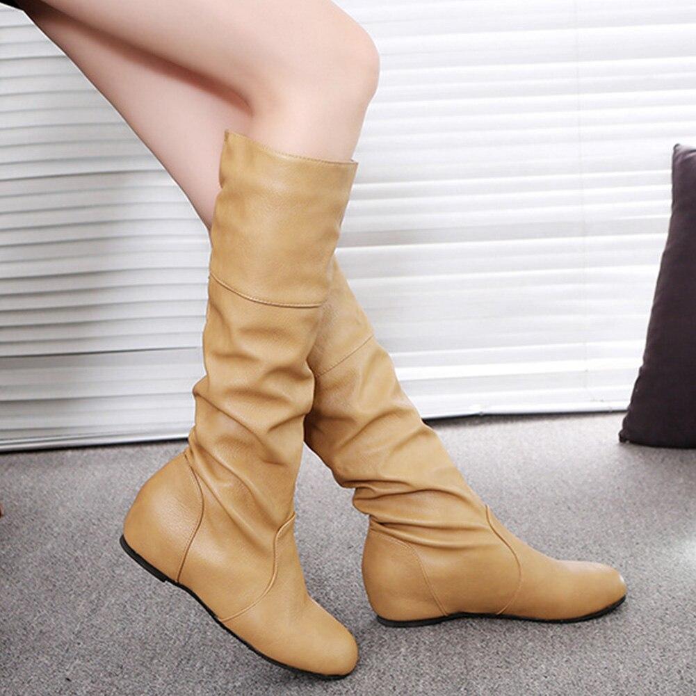 Las Biker negro Hasta Mujeres Slouch Sólido Rodilla Planos Cuero De Zapatos Khaki Color grey marrón Invierno La Botas Pu Mujer Boots Caliente ffrHqwP