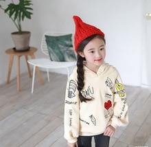 Autumn winter girls new velvet sweatshirt, fashionable hooded pullover, personal graffiti hoodie