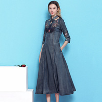 Cowboy Dress Women 2019 Spring stylish Stand Collar Embroidery half Sleeve slimming Sexy large swing denim dress mujer NW19B6011
