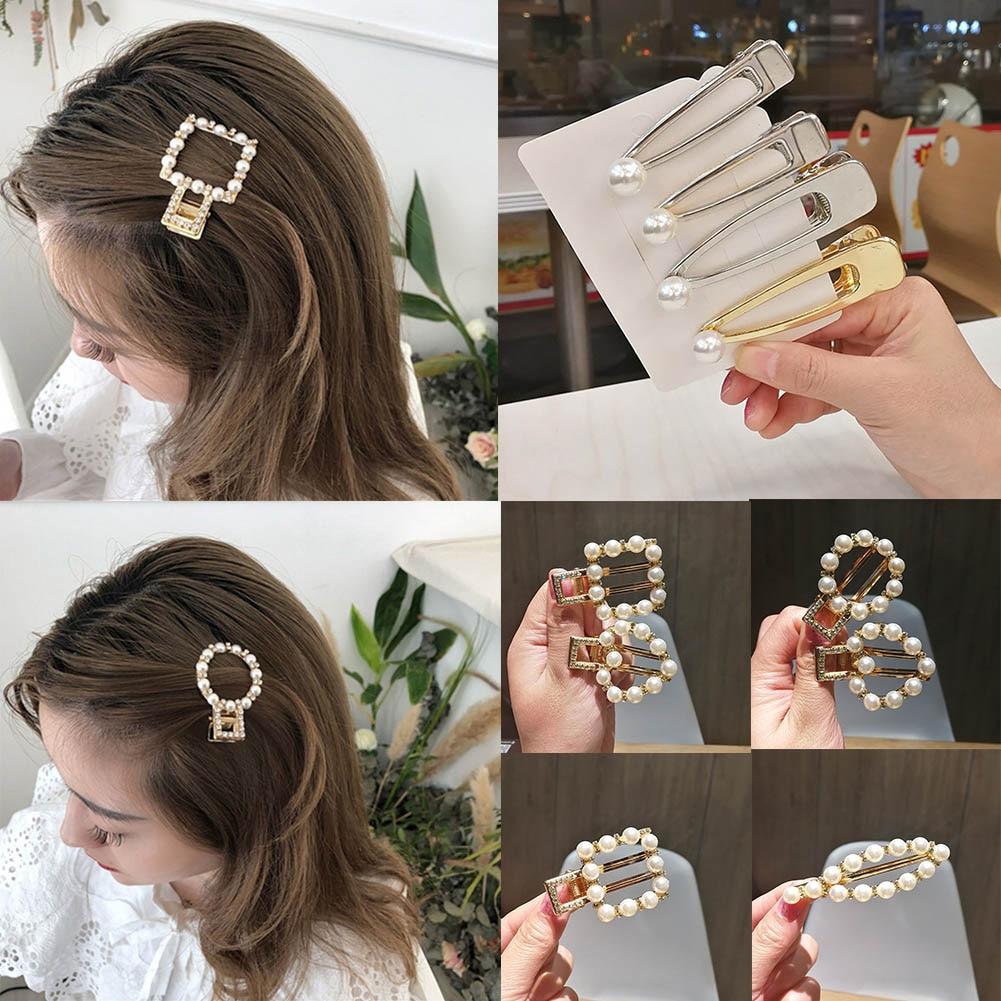 2019 korean style Pearls Hair Clips Women Sweet Hairpins Alloy BB Hairgrip Girls Barrettes   Headwear   girls Hair Accessories