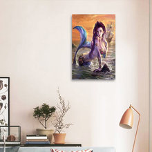 Home Art Decor Fantasy Vintage Mermaid Oil Painting Picture Printed On Canvas For The Sitting Room Adornment Art(China)