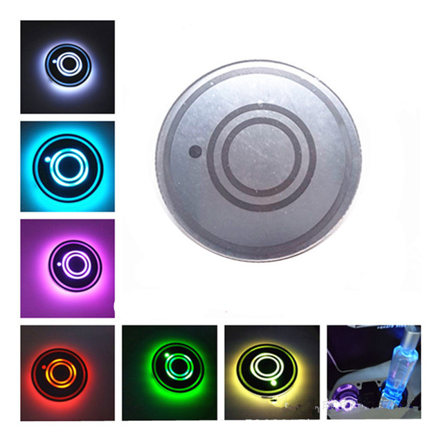 7 Colors Universal Car Cup Holder Bottom Mat Water Drinking Holder Organizer Pad USB LED Sensor Atmosphere Lights Cover Lamp