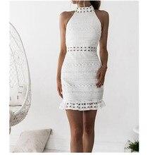 Vintage Hollow Out Lace Dress Women Sleeveless White Elegant Dress Summer Chic Party Sexy Dress Vestidos Robe цена и фото