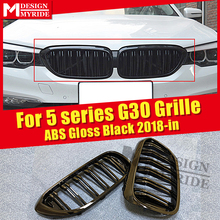 M-Style grille For G30 Front Bumper Grills ABS Glossy Black 1 Pair 520i 530i 540i grills 2-slat 1:1 Replace Grille 2018-in