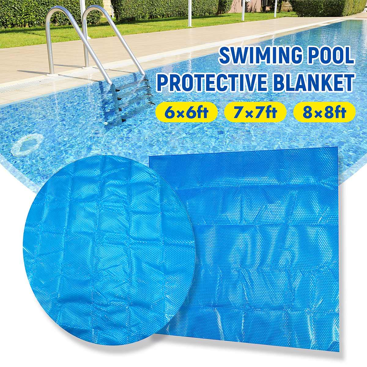Newest Pool Cover 1.8*1.8m/2.1x2.1m/2.4x2.4m  Square/Round Solar Swimming Pool Tub Cover 400m Outdoor Bubble Blanket Accessories