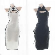 Женский сексуальный костюм для косплея, чонсам, женское белье, корсет на бретелях, ночная рубашка, ночное белье, нижнее белье, платье белого и черного цвета