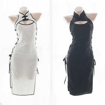 Womens Sexy Cosplay Costume Cheongsam Lingerie Strappy Corset Nightie Sleepwear Underwear Dress White&Black - DISCOUNT ITEM  20% OFF All Category