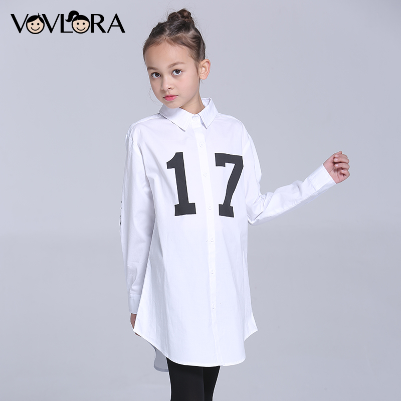 Girls Shirts White Long Turn-down Collar Kids Shirt Blouse Cartoon Number Children Clothing Spring 2018 Size 9 10 11 12 13 14 Y цены онлайн
