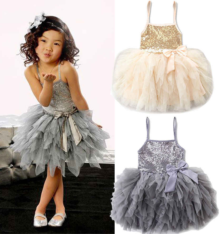 Gold and Gray Princess Kids Girls Dresses Lace Bowknot Sequins Tulle Tutu Summer Dress Wedding Party