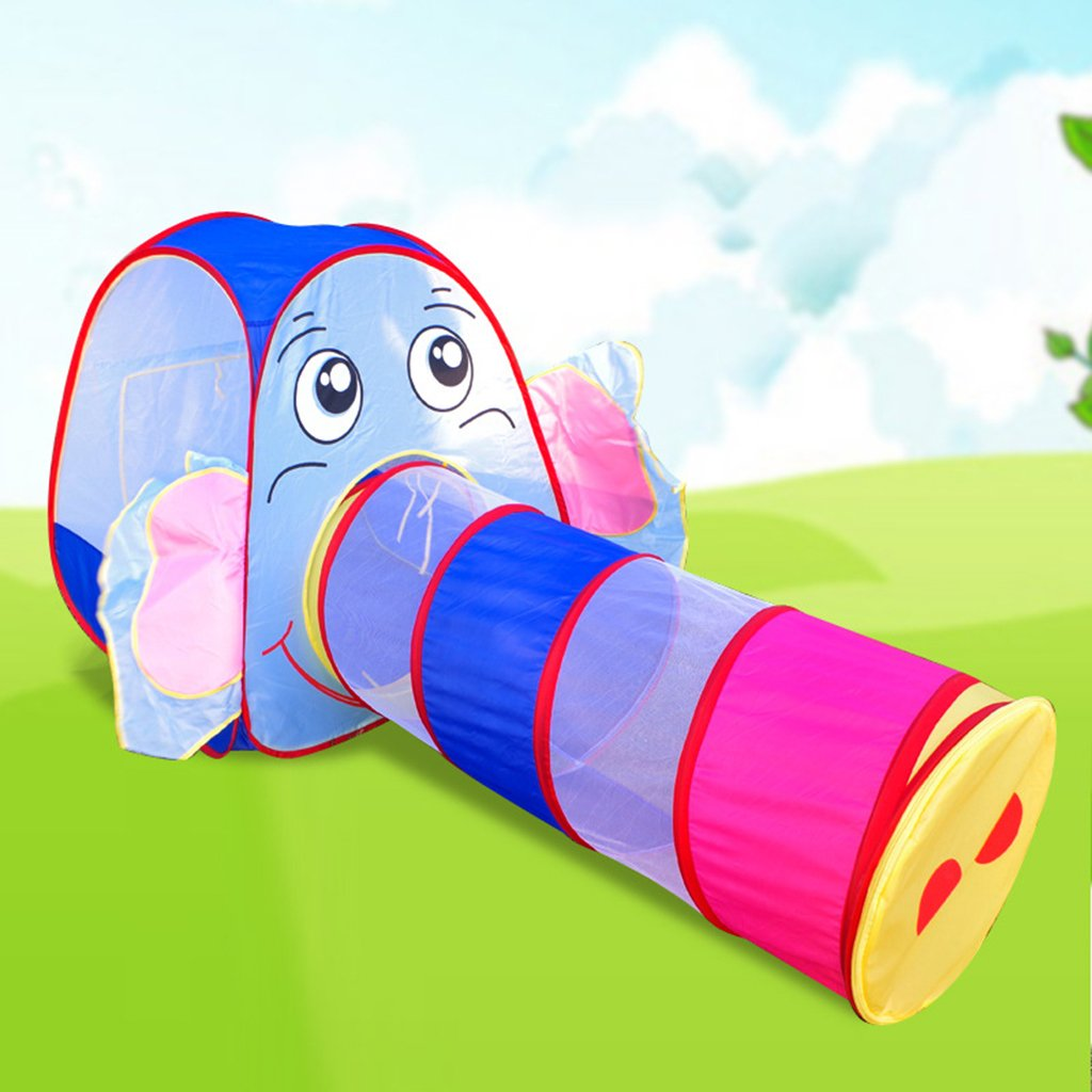 Cute Elephant Play Tent with Tunnel Play House Crawling Tent Toy Game Tents for Children Kids