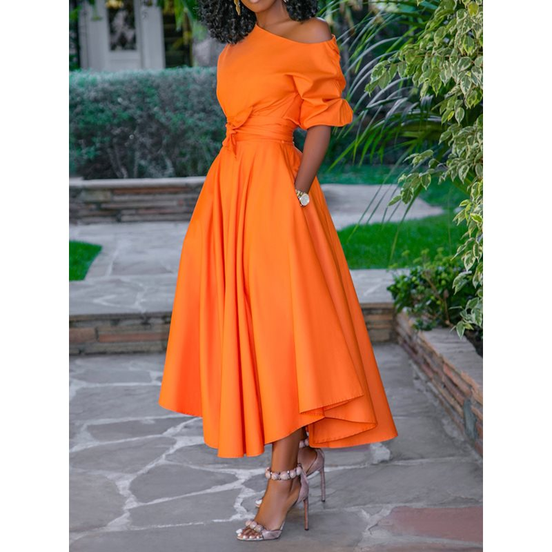 2019 Casual Long Dress Women Summer One Shoulder Sexy Fashion Street Robe Ladies Maxi Big Size Pocket Belt Elegant Party Dresses in Dresses from Women 39 s Clothing