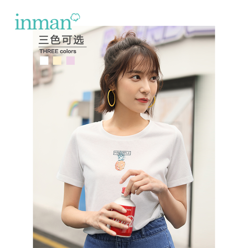 INMAN 2019 Summer New Arrival O-neck Funny Print Korean Fashion Casual Student Slim Short Sleeve Women T-shirt