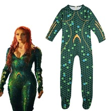 zlkoe Women Kids Movie Aquaman Mera Queen Cosplay Costume Zentai Bodysuit Suit