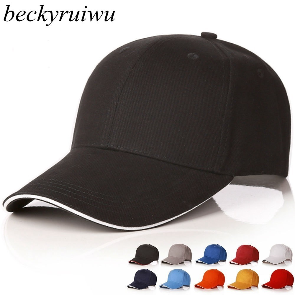 Logo Customized Blank   Cap   Adult Logo Print Pure Cotton Hat Logo Embroidery Plain Sun Hat Solid Color Sandwich Peak   Baseball     Cap