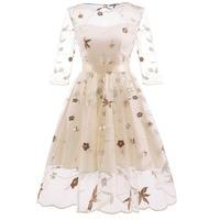 MUXU vintage transparent backless floral embroidery dress vestidos kleider fashion frocks clothing jumper elegant dress clothes