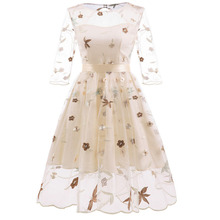MUXU vintage transparent backless floral embroidery dress vestidos kleider fashion frocks clothing jumper elegant clothes