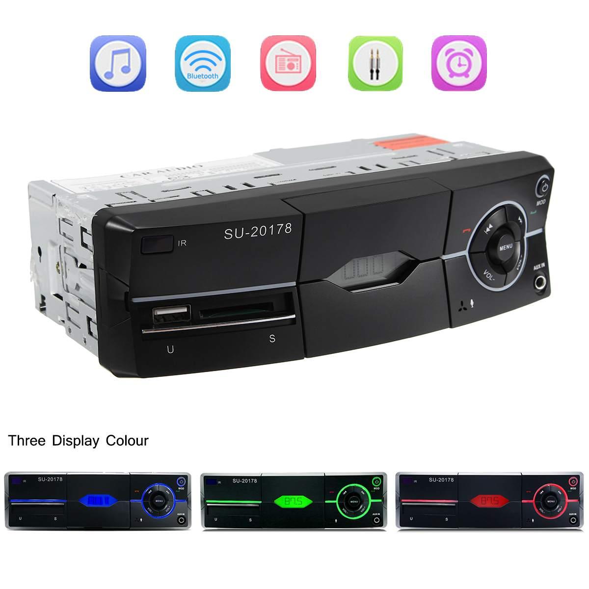 12V 1 DIN bluetooth Car Stereo FM Radio SD/USB/AUX-IN Remote Head Unit MP4 MP5 MP3 Audio Player USB SD MMC Port