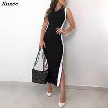 2018 New Arrival Women Fashion Elegant Stylish Sheath Black Dress Contrast Color Button Split Side Bodycon Dress Vestidos de fes split contrast trim dress