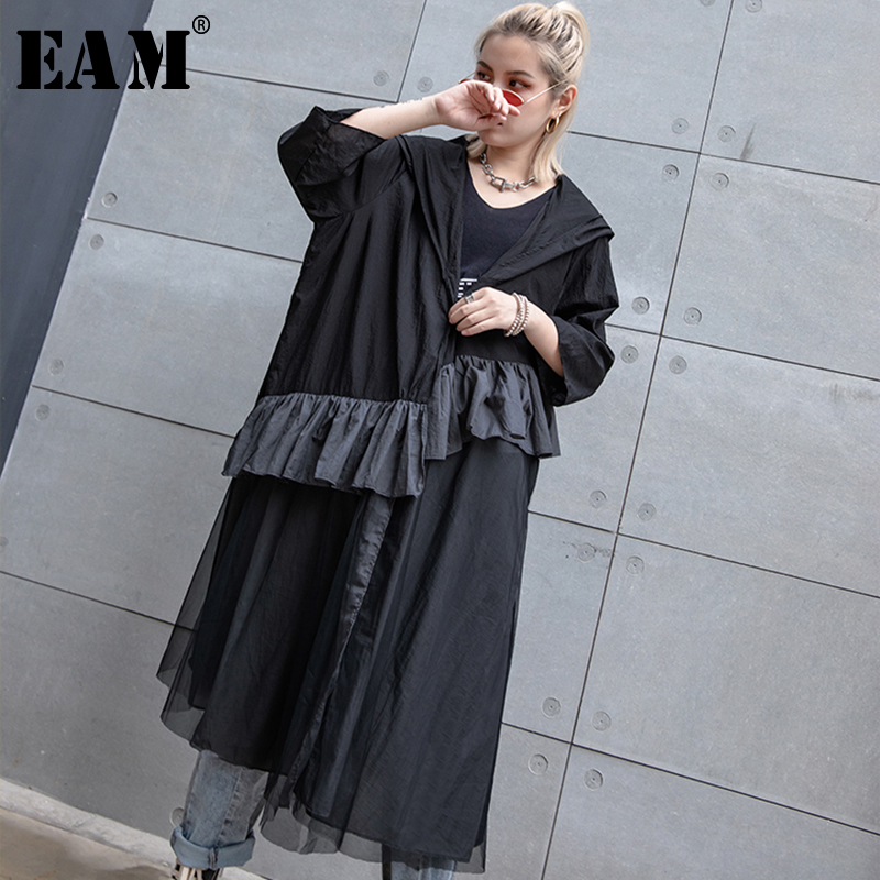 [EAM] 2019 New Spring Summer Hooded Long Sleeve Black Ruffles Split Joint Big Size Thin Windbreaker Women   Trench   Fashion JT180