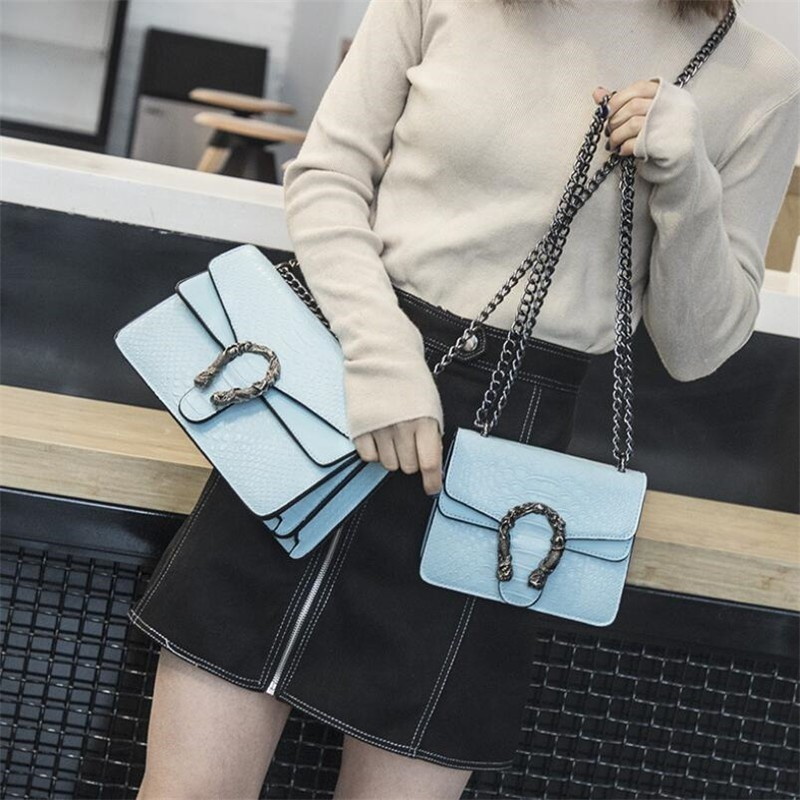 Luxury Handbags Women Bags Designer 2018 Alligator PU Leather Version Of Black Blue Gray Clutches Chains Ladies Crossbody Bags 2