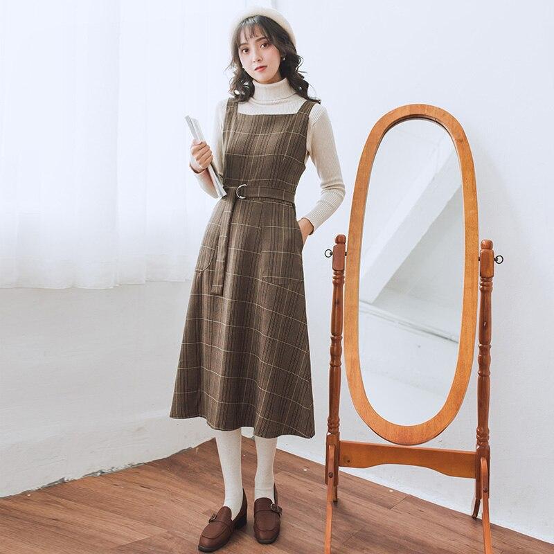 De Mujeres Chaleco Vestidos M 2019 Marrón Mujer Sin A Vestido Cuadros Plaid  Primavera Otoño Dama Vintage Nuevo ... 8a21b5596613