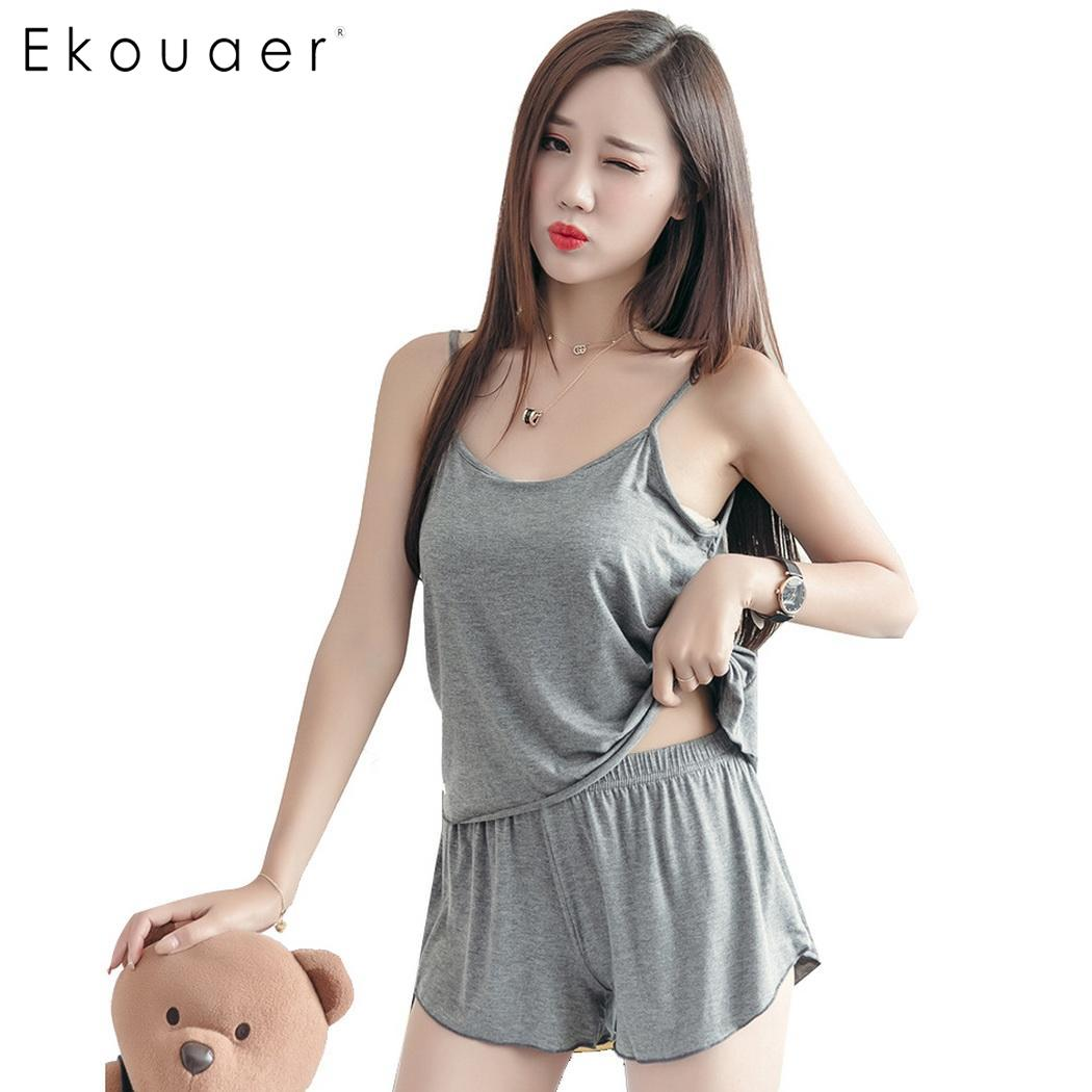 Ekouaer Women Sexy Lingerie   Pajamas   Summer Cotton Sleepwear Solid Spaghetti Strap Cami Tops Shorts Loose   Pajamas     Set   Home Suit