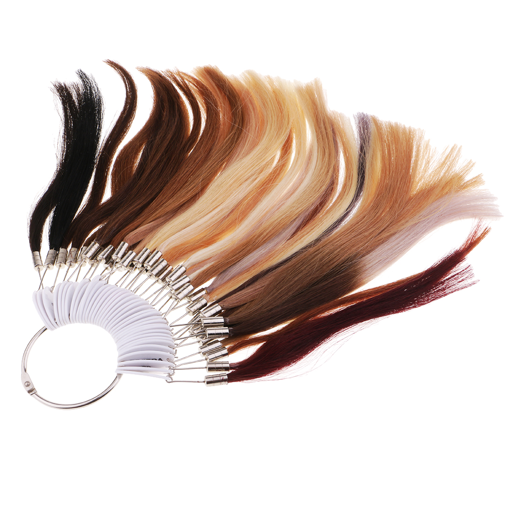цена на 37 Colors Color Rings Swatches for 100% Human Hair Extensions Color Chart