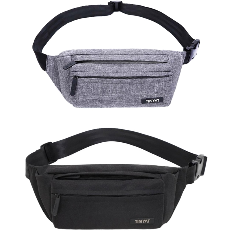 ABDB-Tinyat Men Male Waist Bag Pack Grey Casual Functional Belt Bag Large Belt Pouch Phone Money Belt Bag Fanny Travel Hip