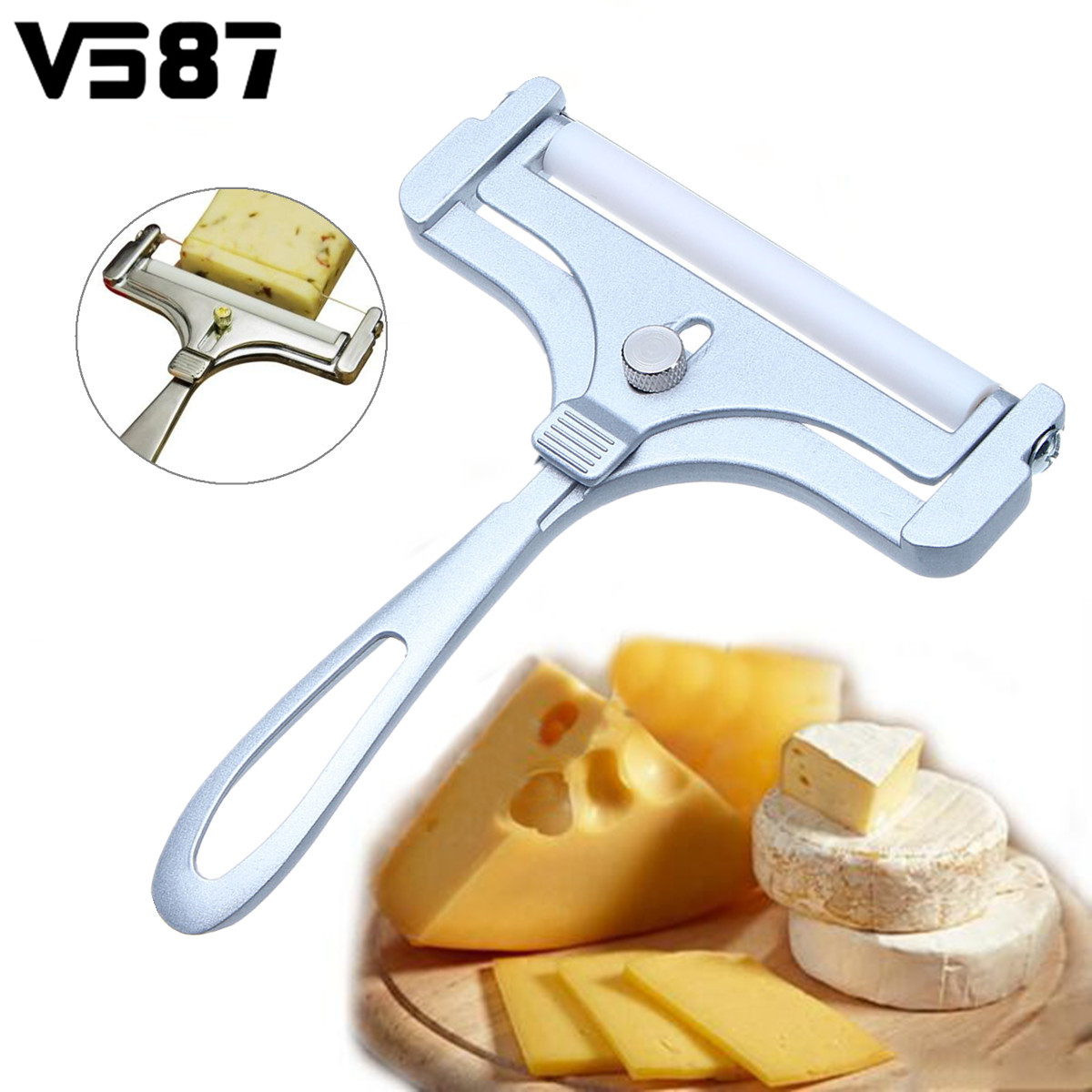 Adjustable <font><b>Cheese</b></font> <font><b>Slicer</b></font> Cutter <font><b>Cheese</b></font> <font><b>Slicers</b></font> Knife Butter Grater <font><b>Wire</b></font> Home Kitchen Baking Cooking Tools Supplies Zinc Alloy image